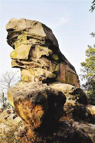 铜梁巴岳山山顶有一块百吨巨石 形如一头雄狮