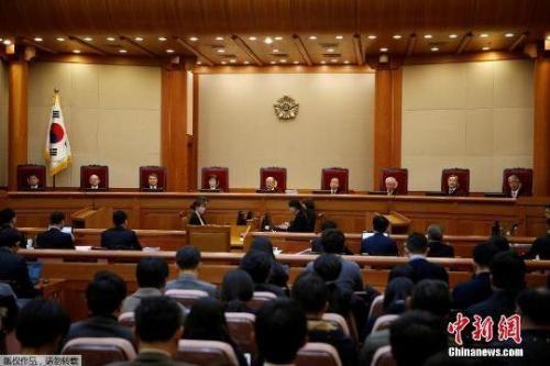 资料图:当地时间1月3日,韩国首尔,宪法法院开审朴槿惠弹劾案。