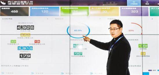 """近日,在两江新区建设局,两江新区智慧工地信息管理平台电子监控显示屏上正实时显示着""""天眼""""捕捉到的数据。"""