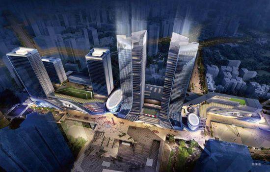图为重庆建首个商圈高铁TOD效果图。 龙湖地产供图