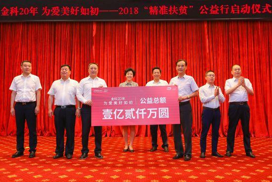 图为重庆市慈善总会会长刘光磊接受金科股份董事长、总裁蒋思海捐赠1亿2千万元。 金科供图