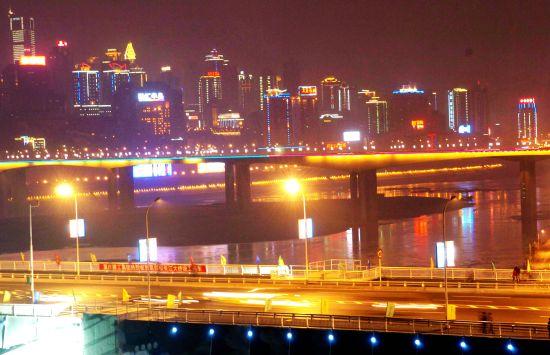长江双桥夜景