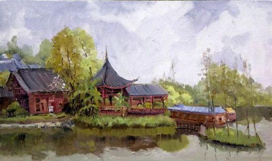 油画《春至璧山—秀湖写生之二》