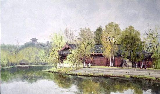 油彩《春至秀湖之一》