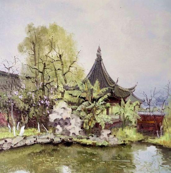 油彩《春至秀湖之二》
