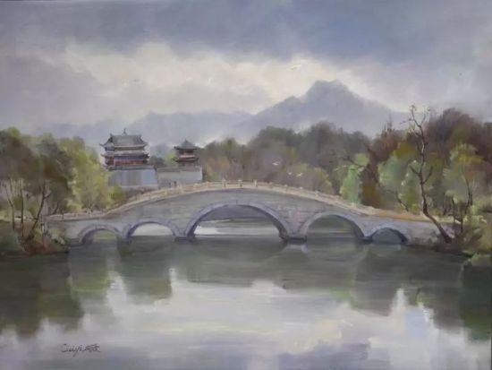 油画《秀湖廊桥》