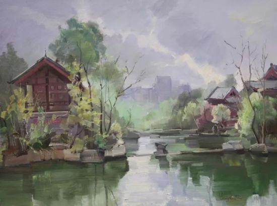 油画《秀湖一隅》