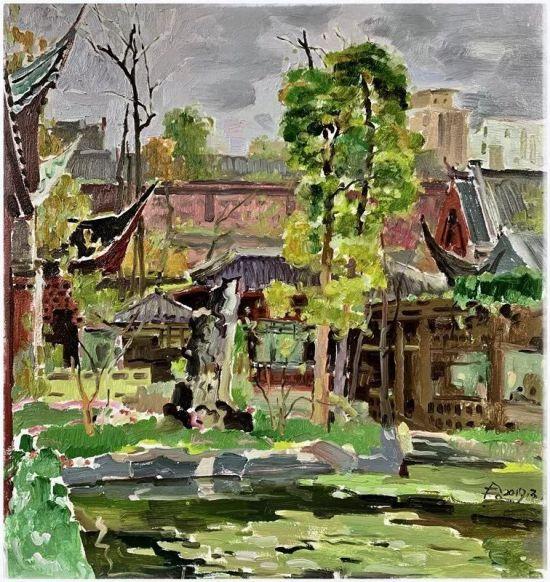 油画《春雨润秀湖》