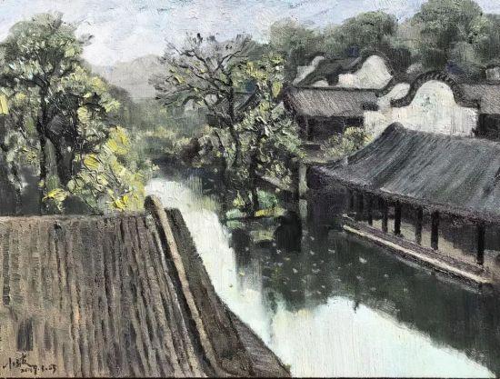 油画《雨中翰林院》