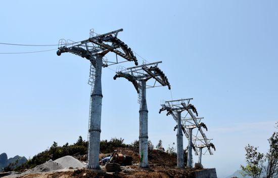 川河盖旅游景区索道项目建设施工现场