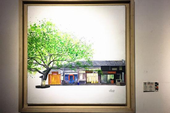 图为展出作品《古镇偏岩》。张颖绿荞 摄