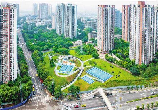 8月6日,鸟瞰位于江北区的赵家山体育文化公园。