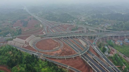 合安高速双江枢纽互通。双合高速公路公司供图 华龙网-新重庆客户端发