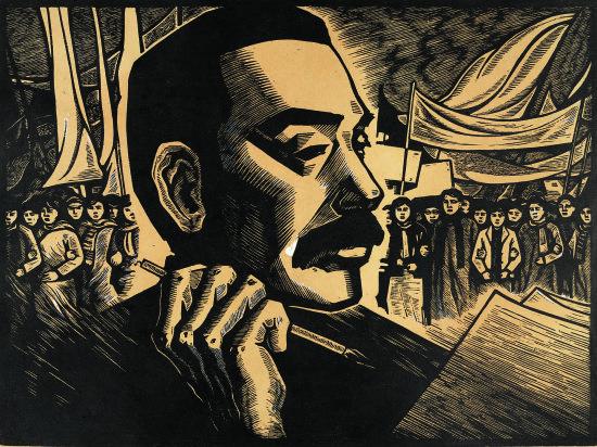 图为著名版画艺术家王琦于1973年创作的版画《战斗的旗帜》。主办方供图