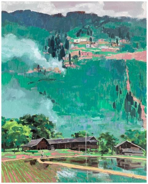 《绿绣山乡》(油画)150×120cm