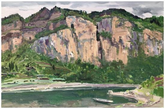 《阿蓬江边》(油画)80×120cm