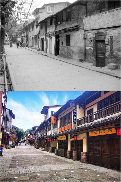改造前后的黄桷垭老街。(受访者供图)