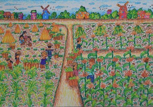 """中的质量""""少儿绘画比赛一等奖作品.作者:万州区特殊教育中心"""