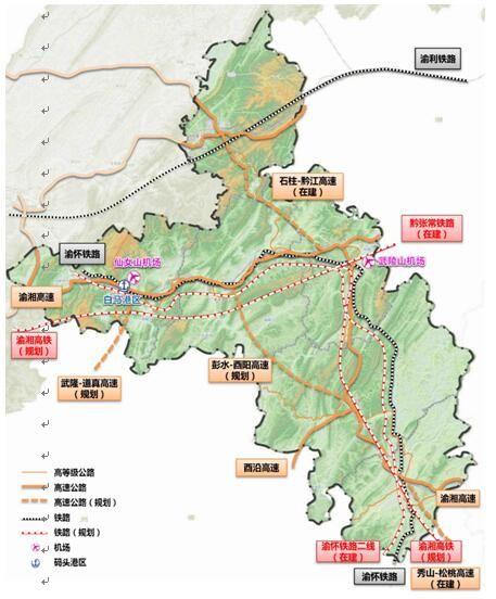 秀山岛黔江旅游路线图