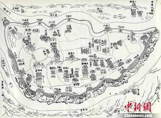 此次展览中最早的一幅重庆城市图,选刊自清乾隆《巴县志》,为时任巴县知县、也是重庆历史上最著名的一位知县王尔鉴所主持修撰,成图时间大约在乾隆二十五年。主办方供图