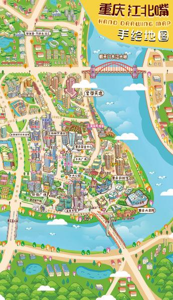 图为江北嘴手绘地图