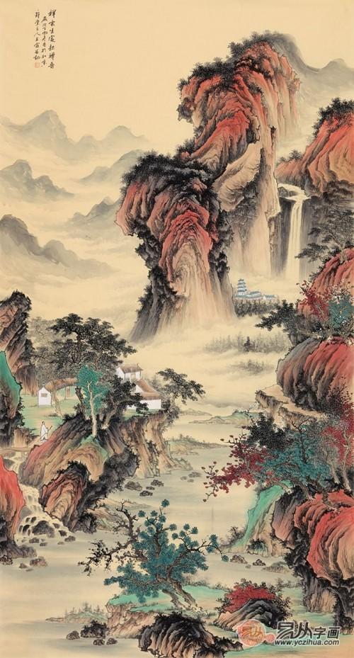 用山水画装饰居室,将清雅的中国传统艺术元素与现代的设计手法相结合