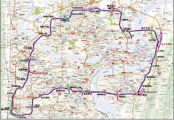 轨道环线站点示意图.重庆轨道集团供图 华龙网发-重庆4条轨道线路最